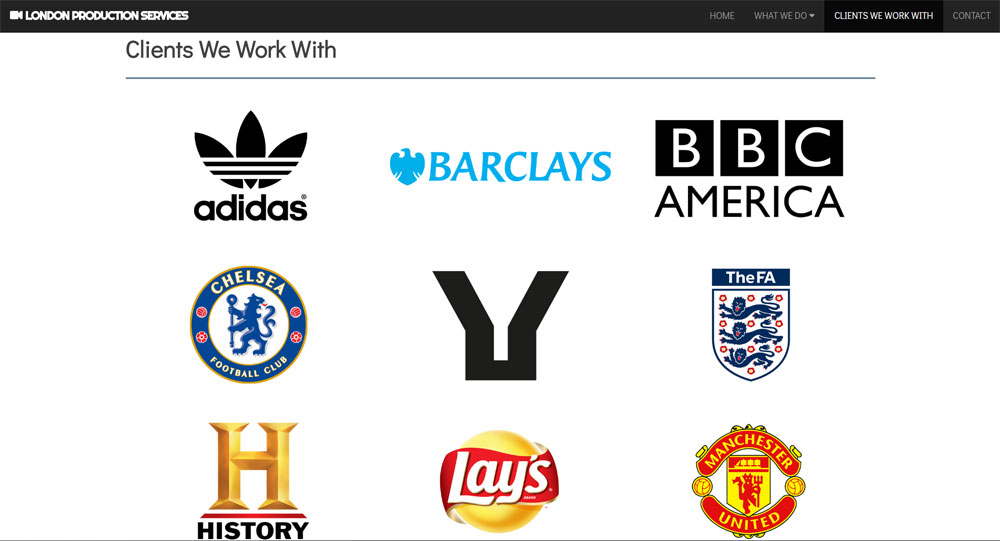 London Production Services website screen shot 4
