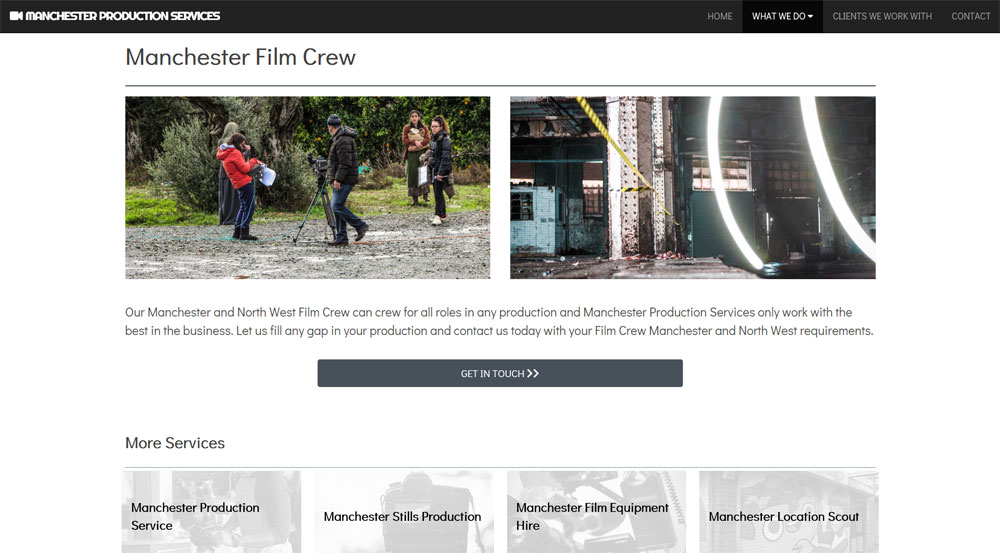 Manchester Production Services website screenshot 3