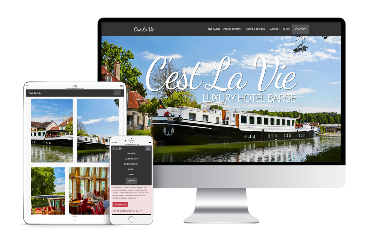 Web design mock up for C'est La Vie website transparent background